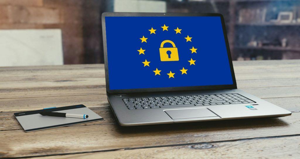 computer showing europe gdpr logo