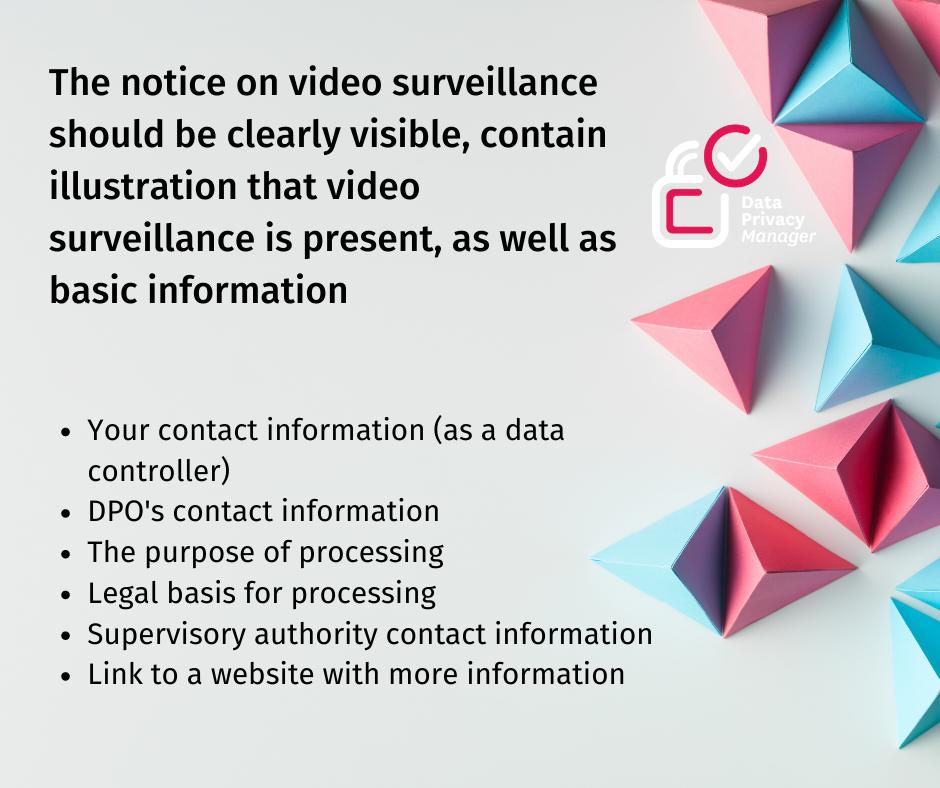 Video surveillance notice according to GDPR
