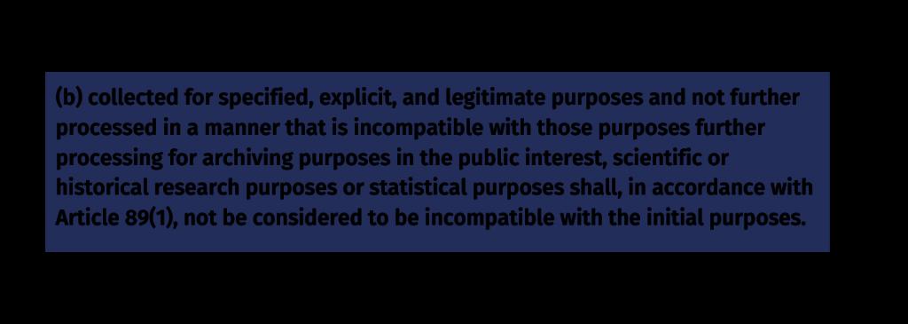 GDPR principle purpose limitation