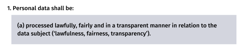 Lawfulnes, fairness and transparency GDPR principle